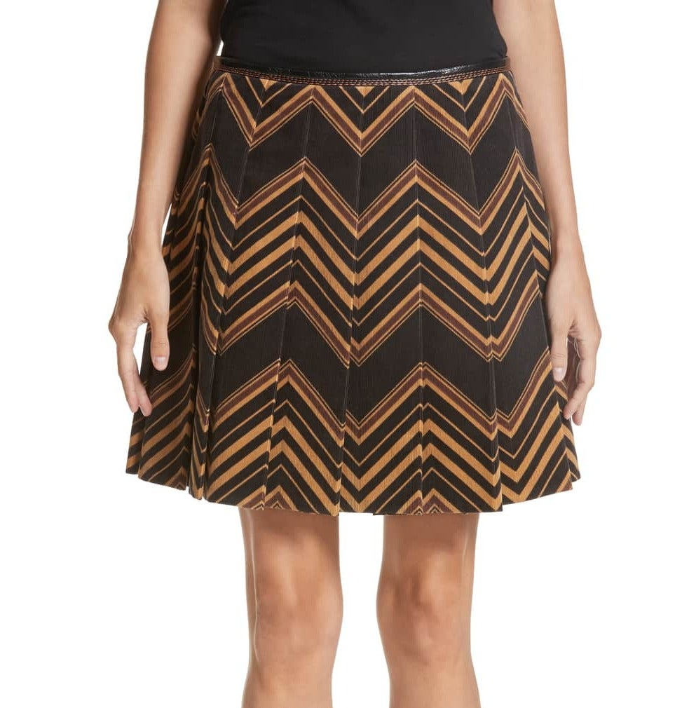 Marc Jacobs NEW Black Brown Women's Size 2 Pleated Chevron Skirt