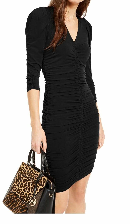 Michael Kors Women's Dress Black Size Small S Sheath Ruched 3/4 Sleeve