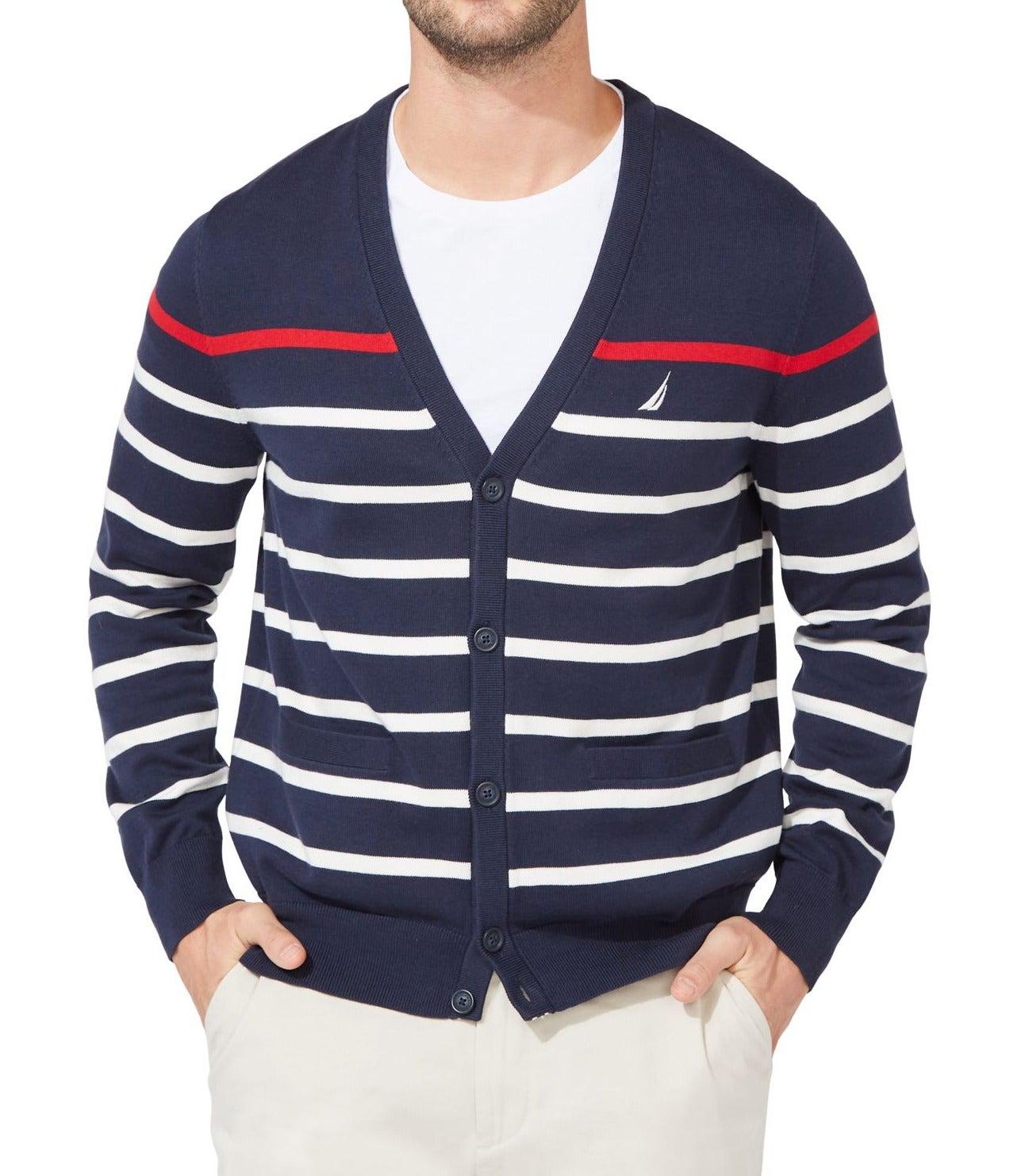 Nautica Mens Sweater Blue Size XL Cardigan Stripe Print Button Front