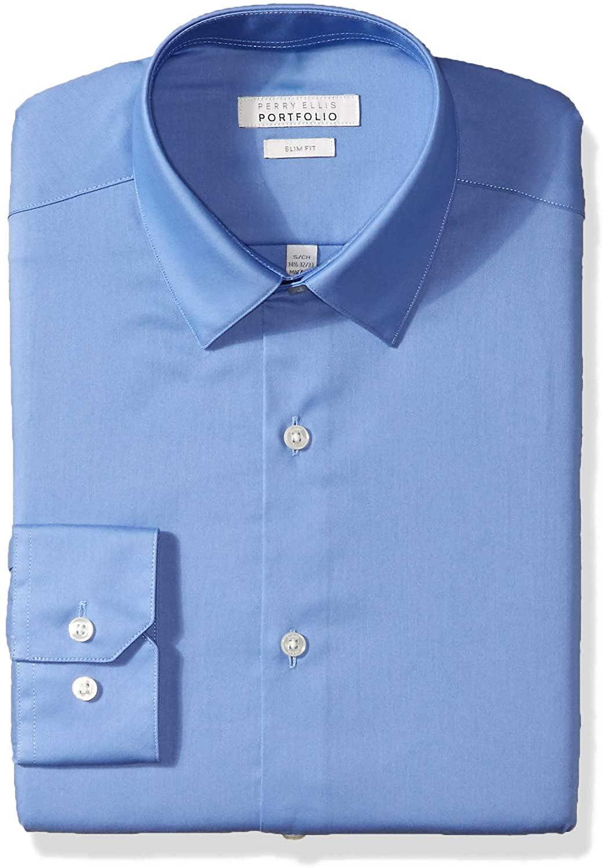Perry Ellis Mens Dress Shirt Blue Size 15 1/2 Slim Fit Solid Stretch