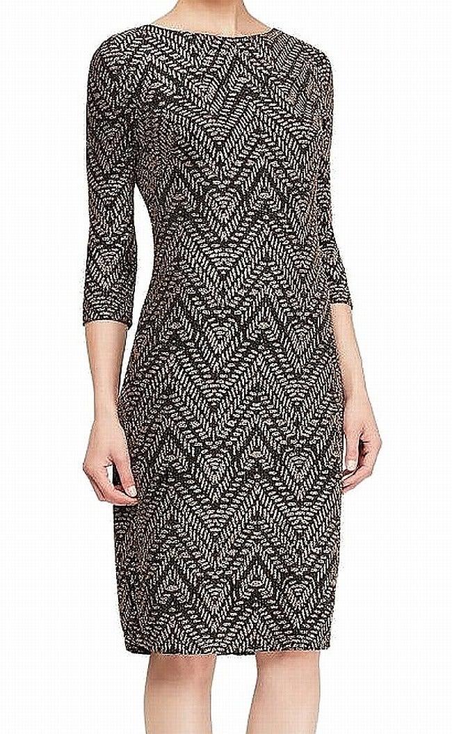 SLNY Women's Dress Black Gold Size 6 Sheath Glitter Sparkle 3/4 Sleeve