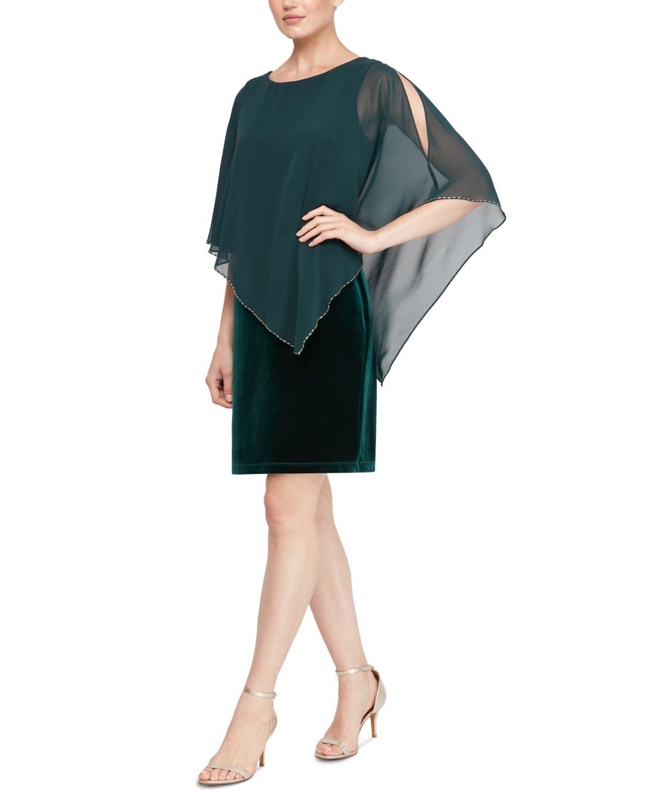 SLNY Women's Dress Green Size 12 Sheath Velvet Beaded Asymmetric Cape