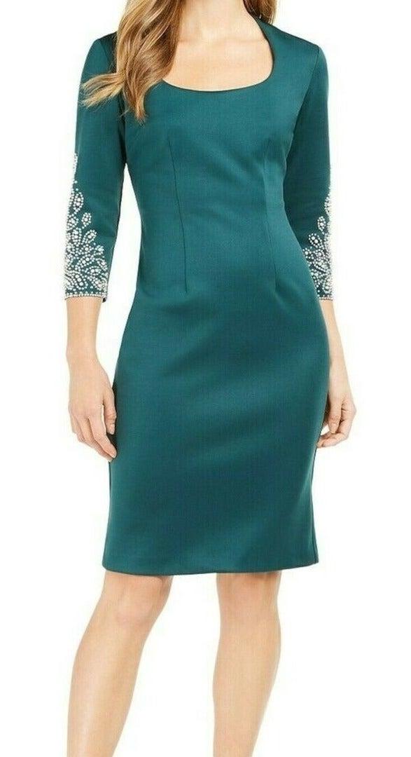 SLNY Women's Dress Green Size 14 Sheath Scoop Neck Bling Elbow Sleeve