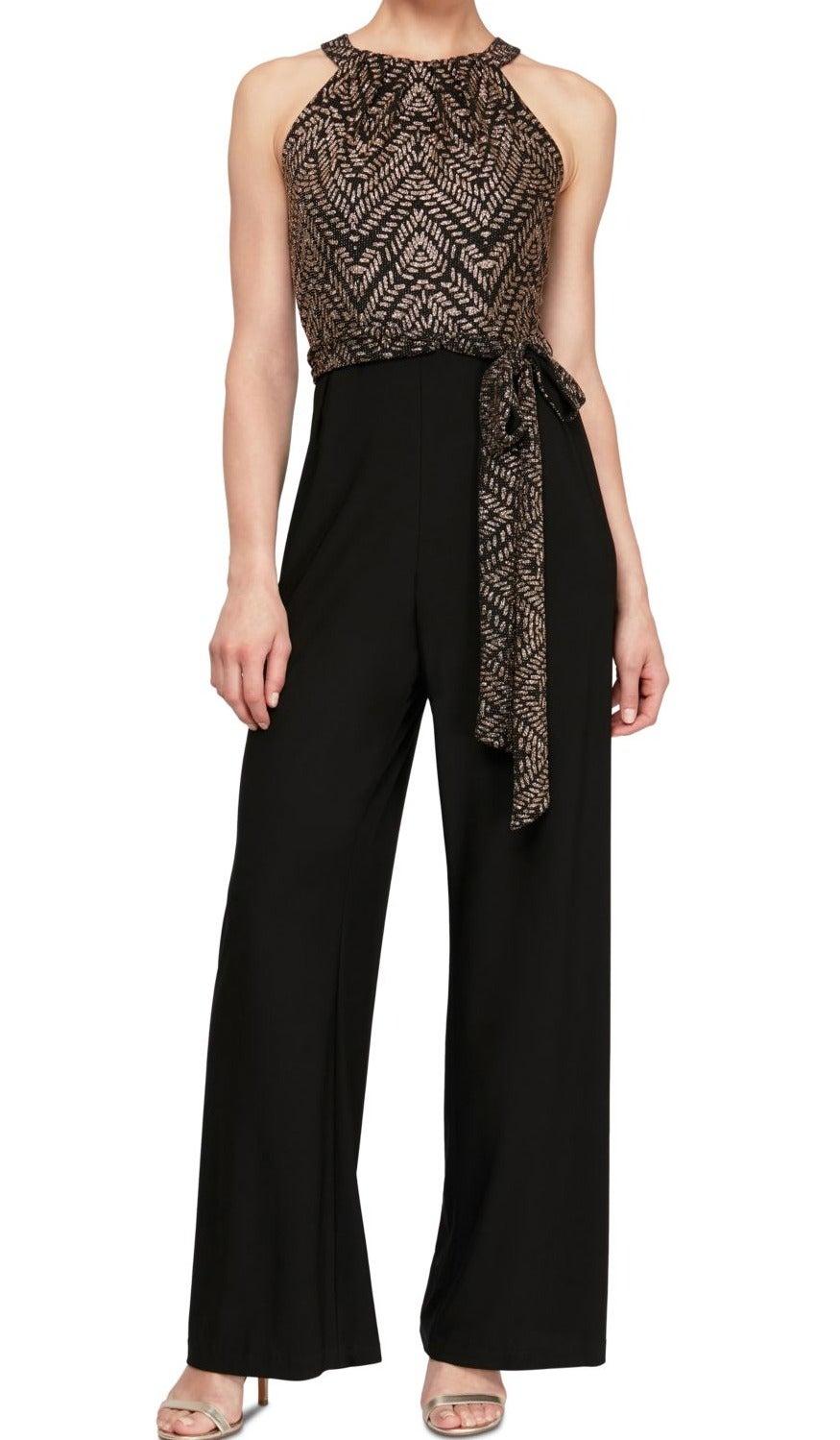 SLNY Women's Jumpsuit Black Gold Size 16 Halter Belted Glitter