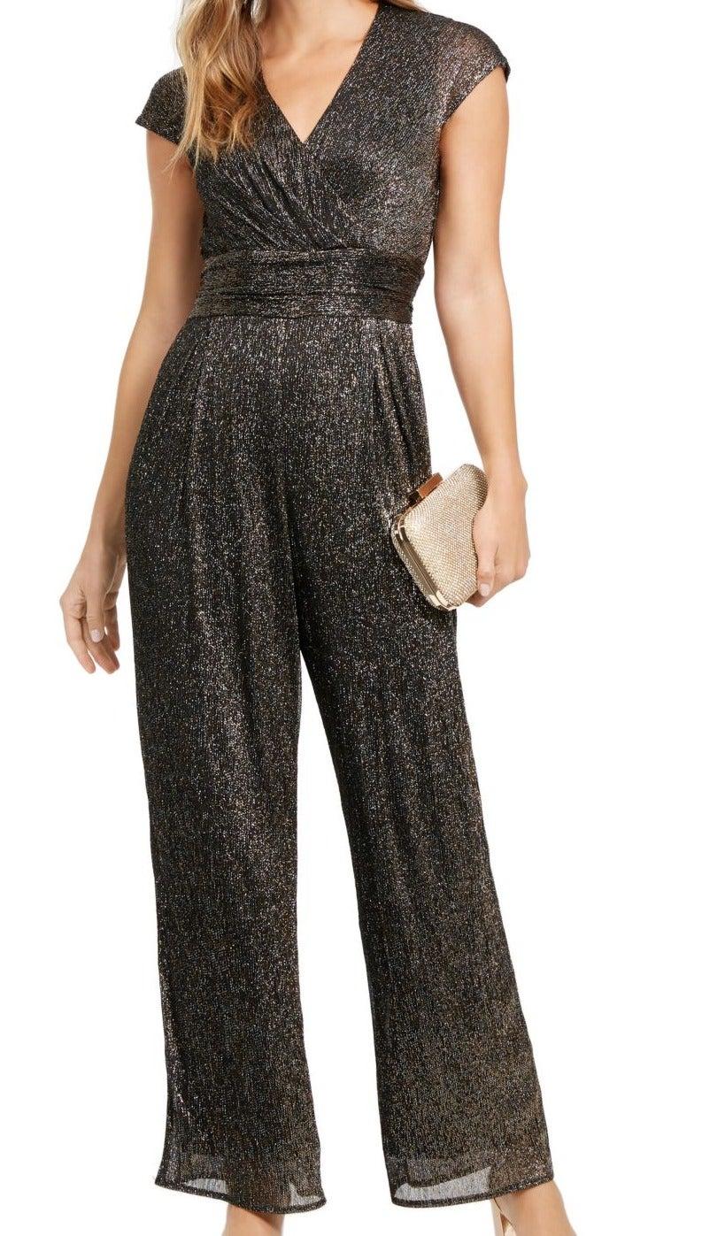 SLNY Women's Jumpsuit Black Size 16 Lurex Tie Waist Cap Sleeve