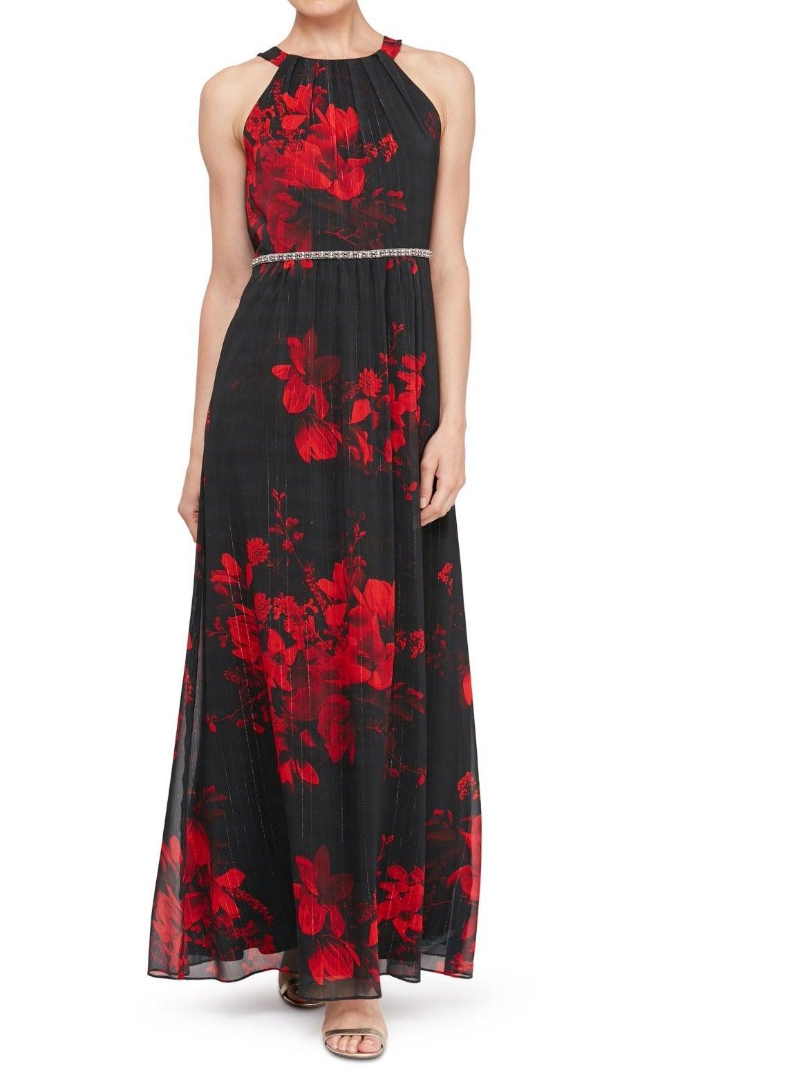SLNY Womens Dress Black Size 16 Maxi Metallic Floral Print Bling Waist