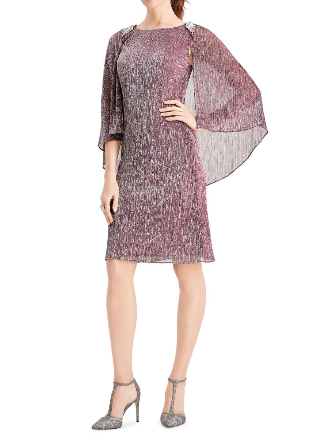 SLNY Womens Dress Purple Size 12 Sheath Metallic Stripe Bling Shoulder