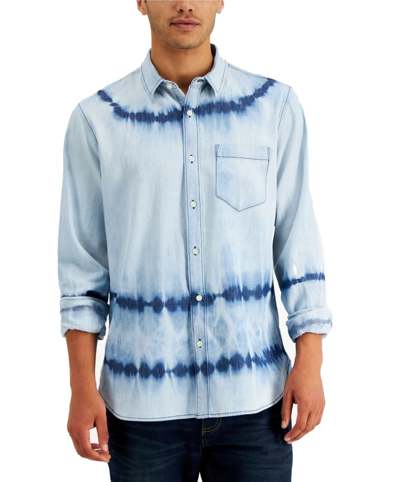 Sun + Stone Mens Shirt Blue Size Large L Tie Dye Stripe Button Up