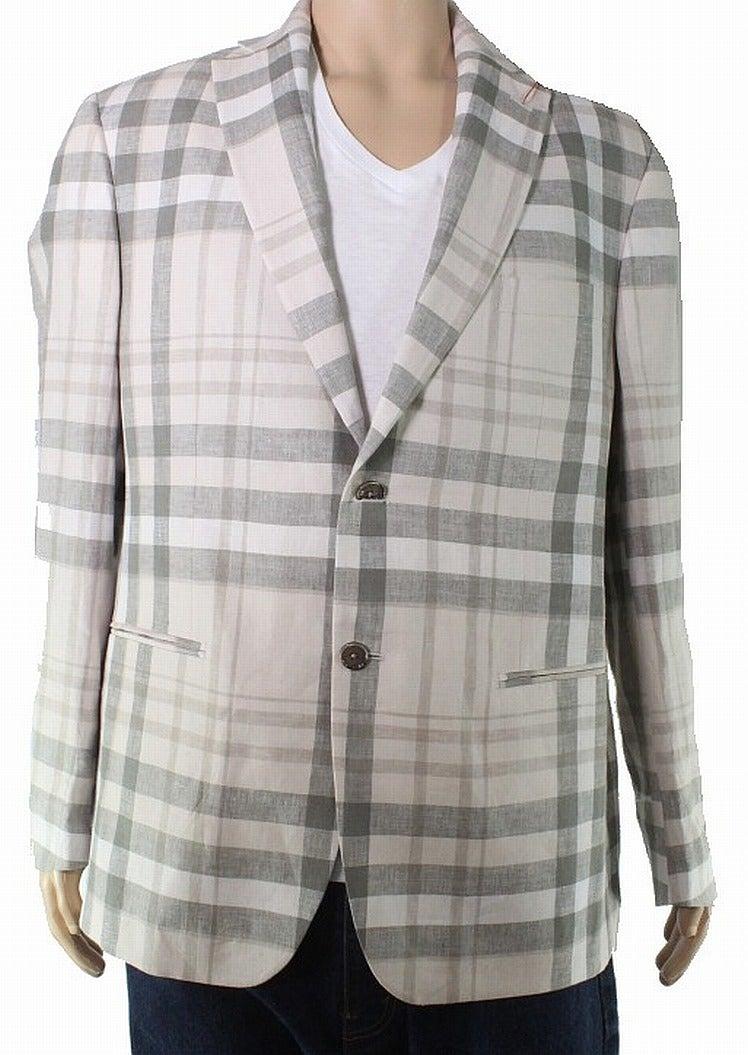 Tallia Mens Sport Coat Beige Size 40 Short Plaid Two-Button Linen
