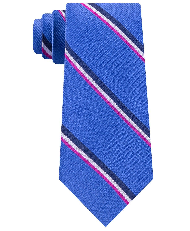 Tommy Hilfiger Men's Neck Tie Blue Bronx Striped Skinny Slim Silk