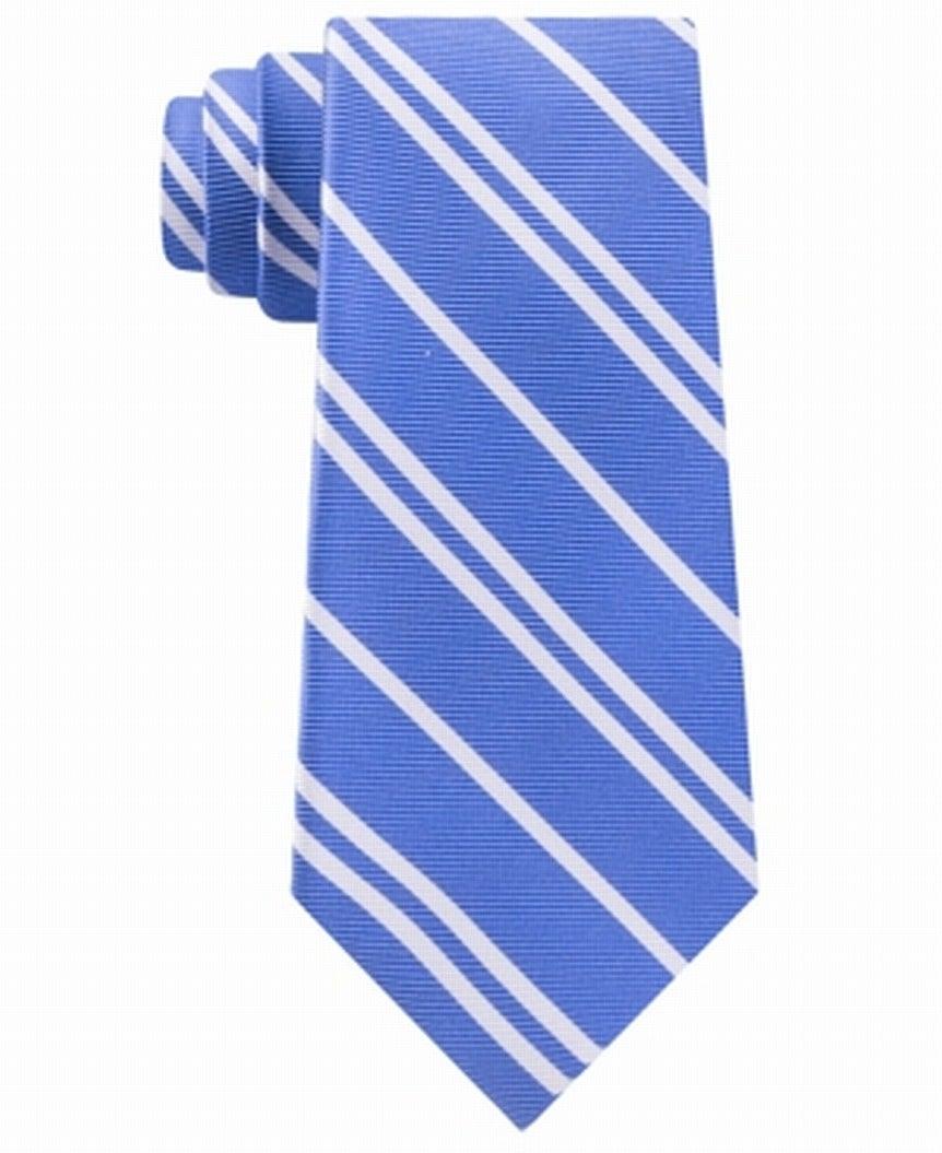 Tommy Hilfiger Men's Neck Tie Blue Flatiron Striped Skinny SLim Silk