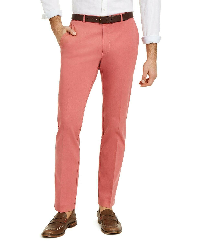 Tommy Hilfiger Mens Dress Pants Red Size 32X30 Modern Fit Flat Stretch