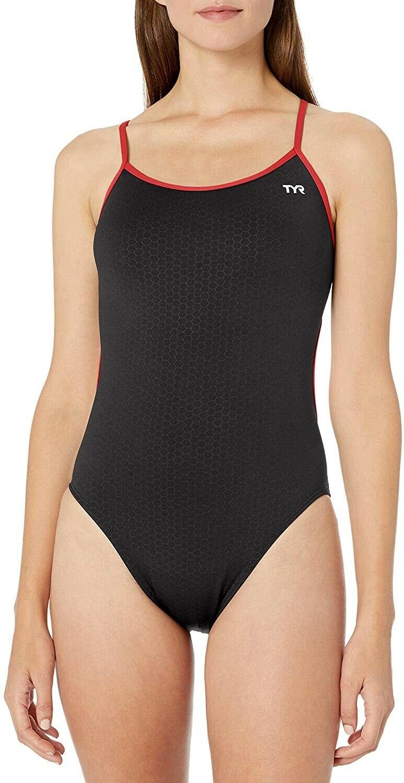 TYR Women's Swimwear Black Size 32 Honeycomb Caged Cross Back Oe-Piece