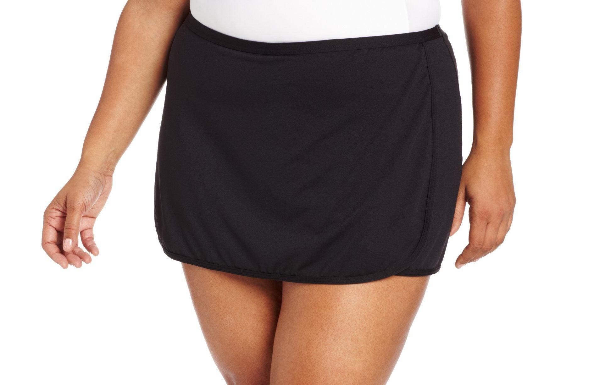 TYR Women's Swimwear Deep Black Size 16 Performance Swim Skort Solid