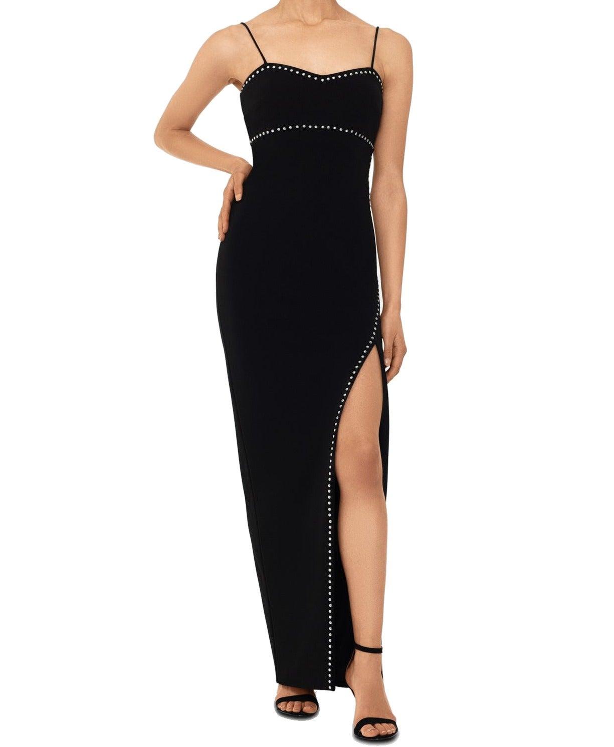 Xscape Women's Dress Black Size 12P Petite Studded High Split Gown