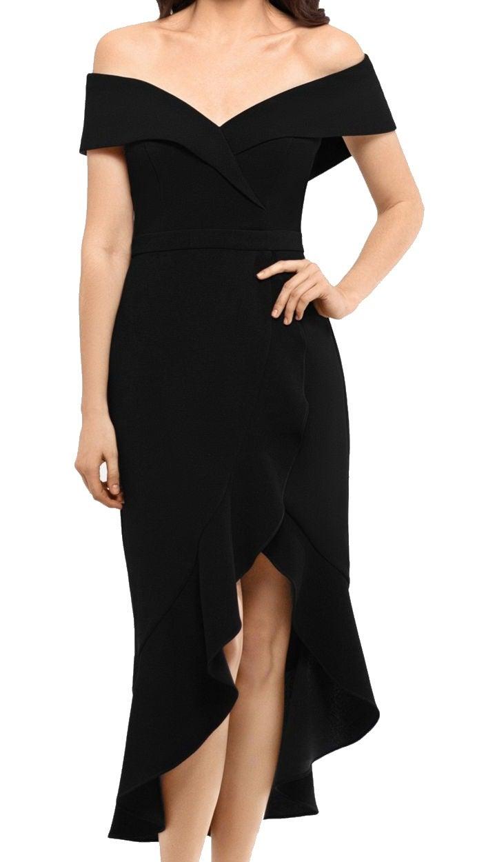 Xscape Women's Dress Black Size 14 Sheath Off-Shoulder Ruffle High-Low