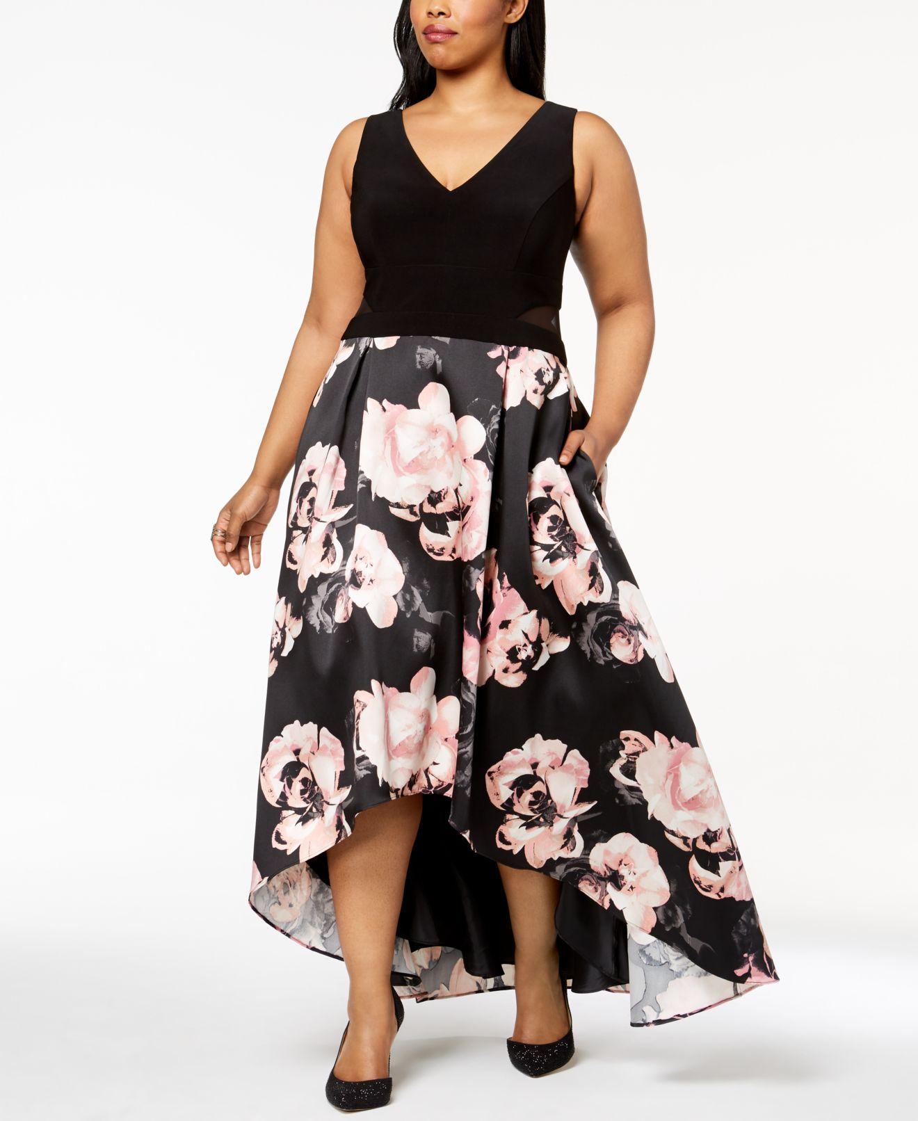 Xscape Women's Dress Black Size 16W Plus Asymmetrical Hem Gown