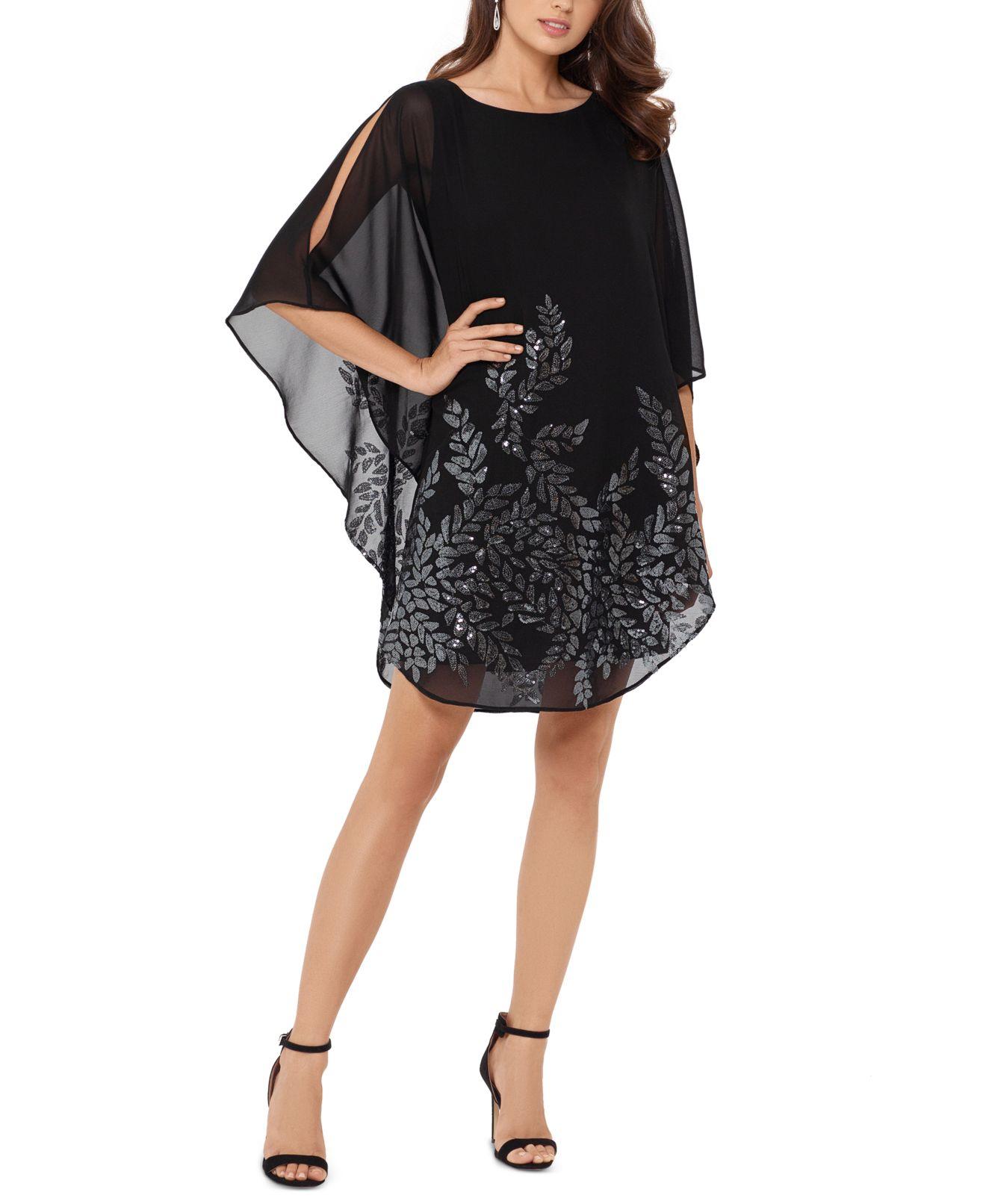 Xscape Women's Dress Black Size 6 Shift Overlay Sequin Split Sleeve