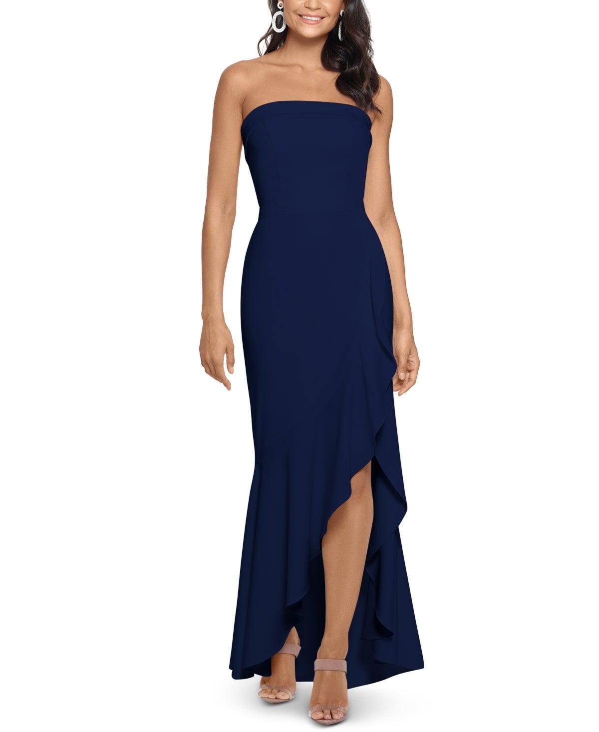 Xscape Women's Dress Blue Size 6 Sheath Strapless Ruffle Slit Maxi