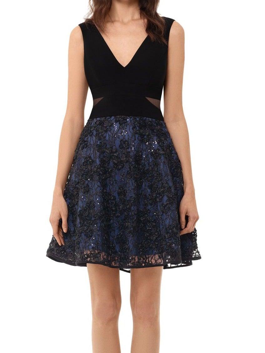 Xscape Women's Dress Blue Size 6P Petite A-Line Shimmer Floral Skirt