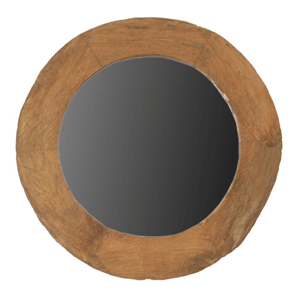 Large Round Recycled Wooden Frame Mirror