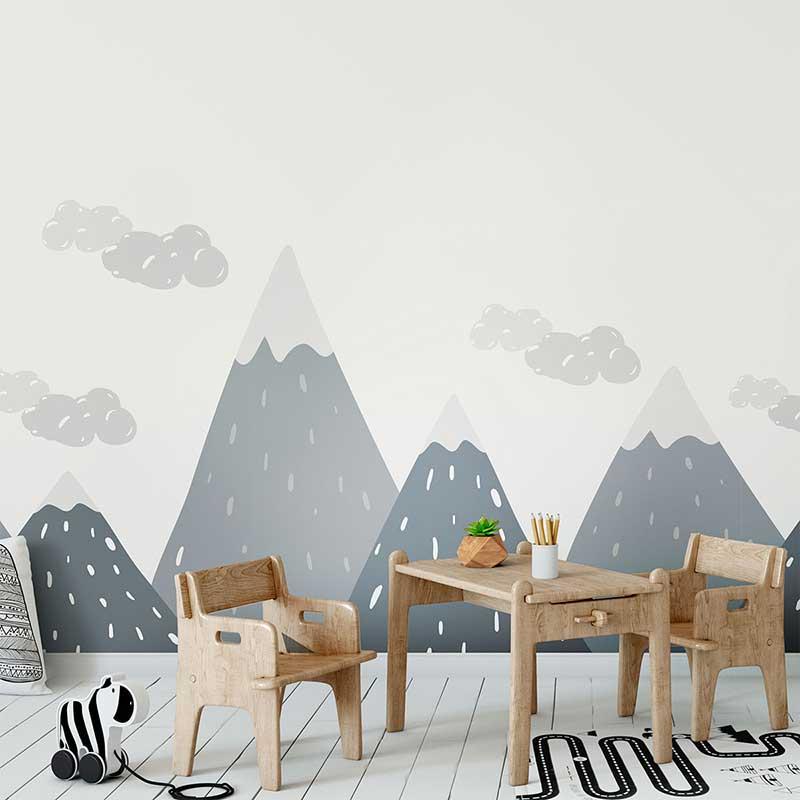 Gray Mix Geometric Mountain Wall Sticker Kid Decal