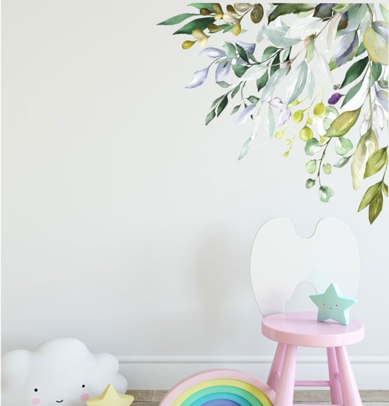 Greenery Tropical Leaves Corner Branch Wall Decal Nursery Kids Decor