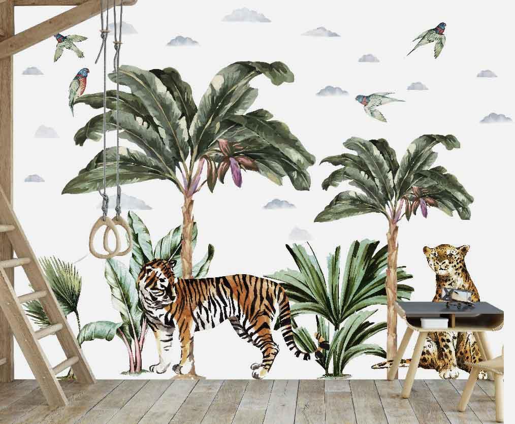 Jungle Tree Plants Animal Wall Stickers