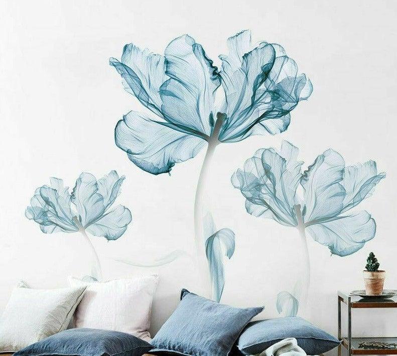 Large Blue Flower Wall Art Stickers