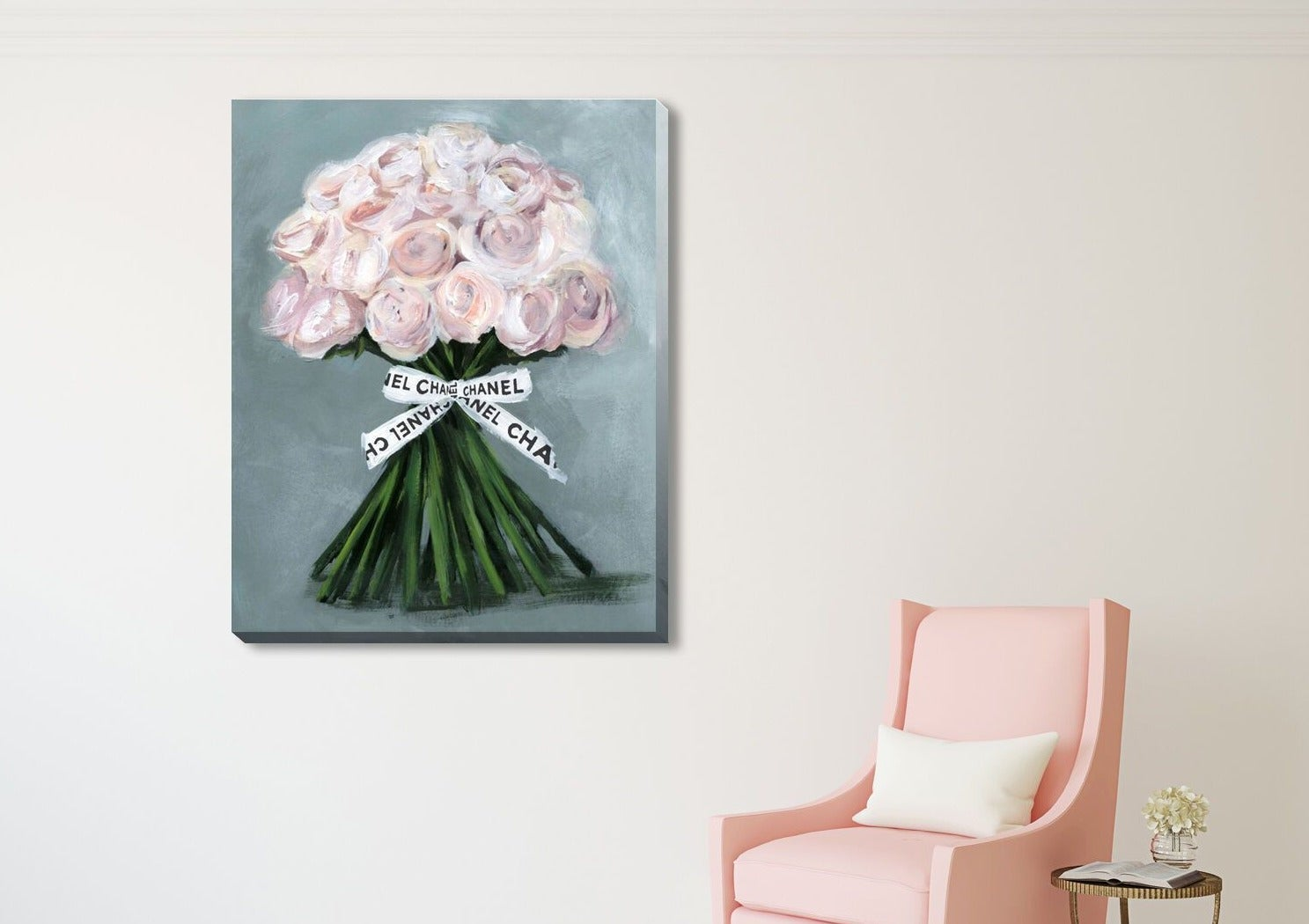 Pink Rose Chanel Fashion Stretched Canvas Print