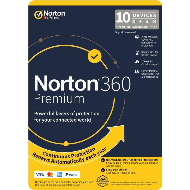 NORTON 360 Premium, 100GB, 1 User, 10 Devices, 12 Months, PC, MAC, Android, iOS, DVD, VPN, Parental Controls, Retail Edition - Subscription