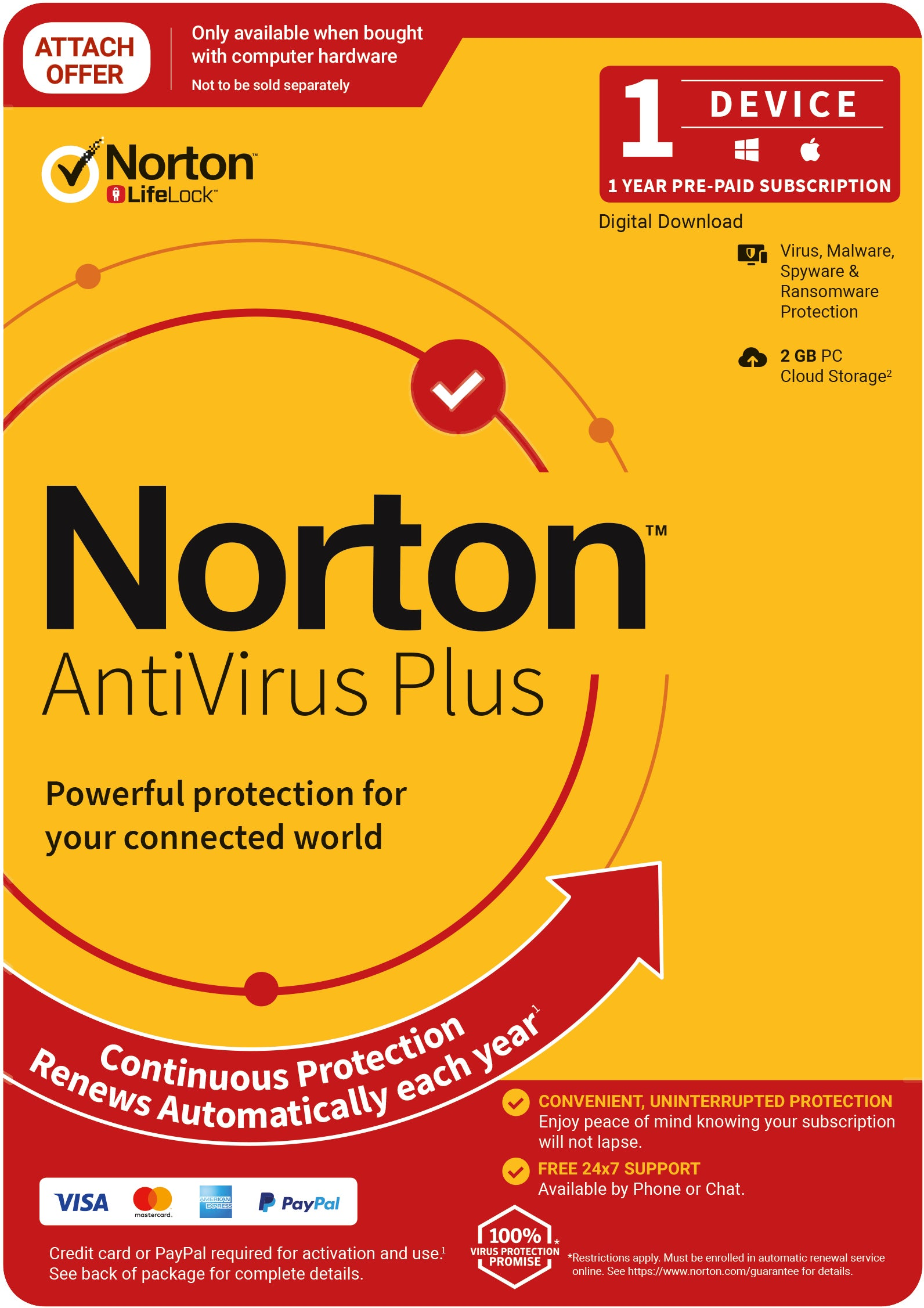 NORTON Anti Virus Plus 2020, 2GB, 1 User, 1 Devices, 12 Months, PC, MAC, Android, iOS, DVD, Subscription