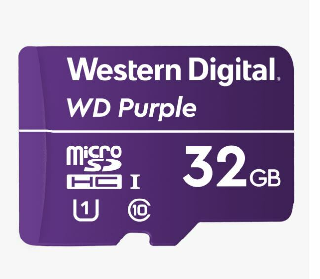 WESTERN DIGITAL Digital WD Purple 32GB MicroSDXC Card 24/7 -25 C to 85 C Weather & Humidity Resistant for Surveillance IP Cameras mDVRs NVR Dash Cams Drones