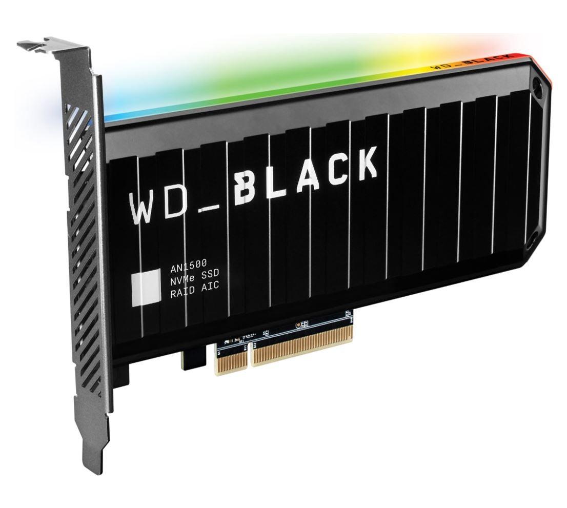WESTERN DIGITAL WD Black AN1500 4TB RGB NVMe SSD AIC - 6500MB/s 4100MB/s R/W 780K/710K IOPS 1.75M Hrs MTBF RAID PCIe3.0 Add-in-Card 3D-NAND s