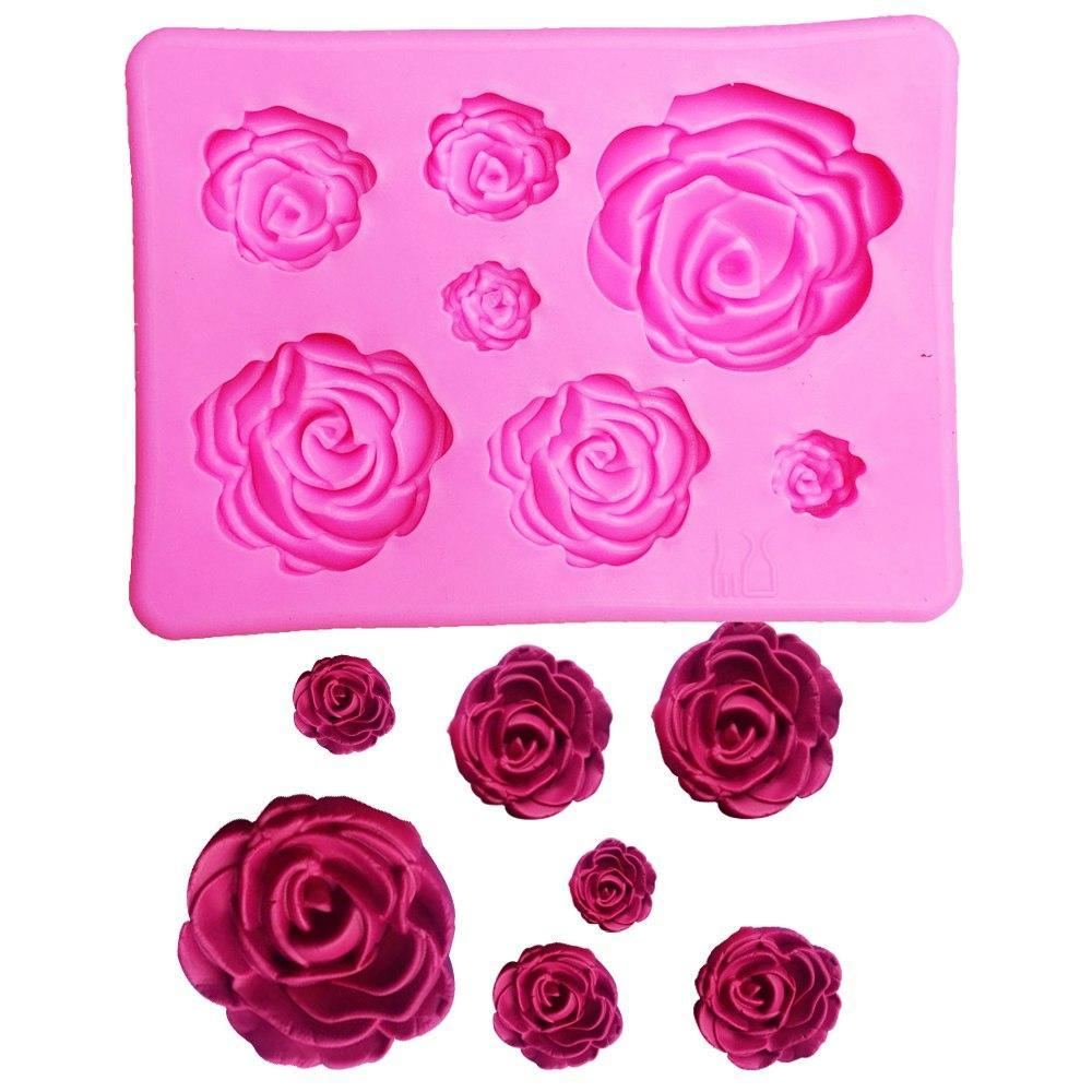 3D Silicone Mini Rose Mold Flower Shape Cake Decorating Mould