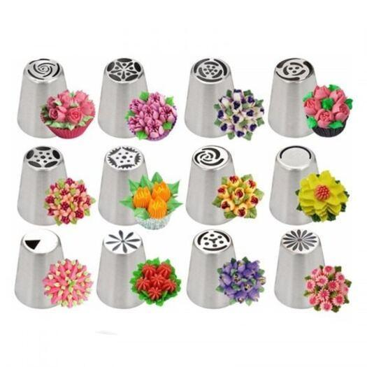 Cake Decorations Decorating Mouth Stainless Steel Russian Tulip Icing Piping Nozzles 14Pcs
