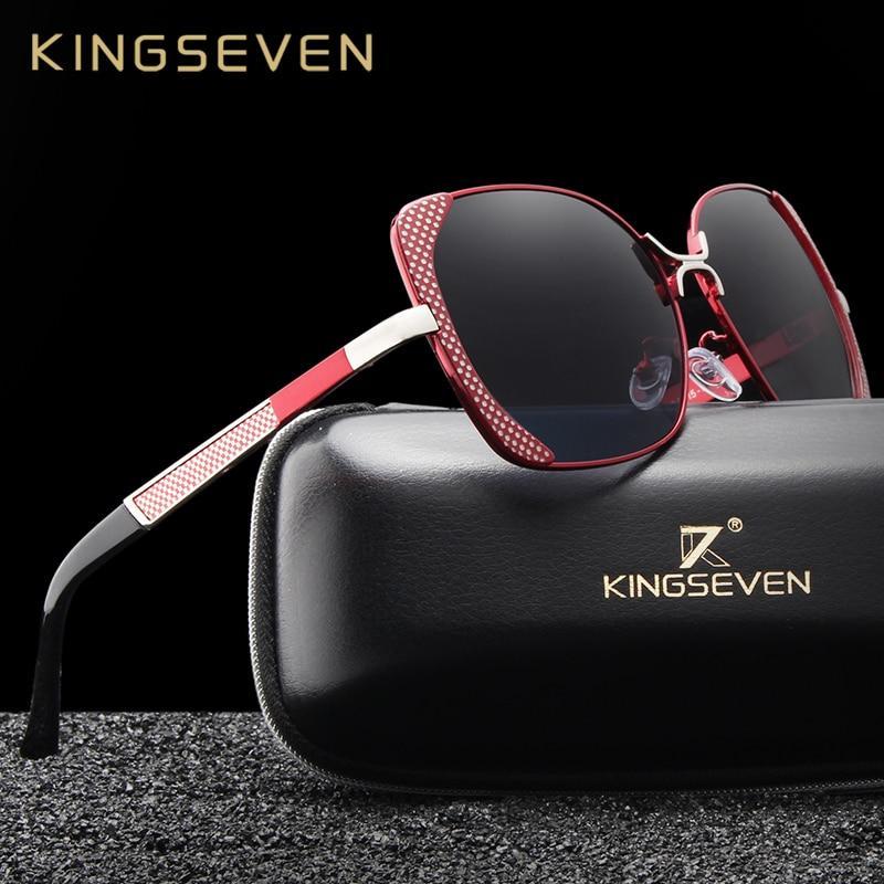 KINGSEVEN Red Luxury Designer Vintage Polarized Sunglasses for Women