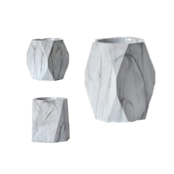 Marble Design Geometric Pot Pen Holder Desk Organiser