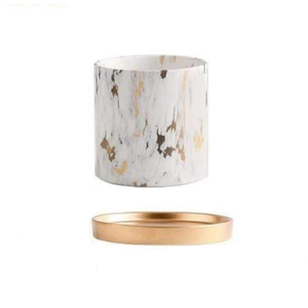 Marble Design White Pot with Gold Tray Nordic Home Decor