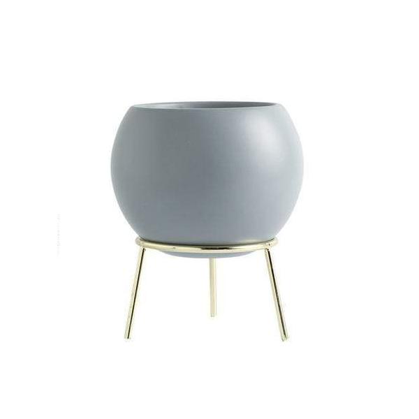 Nordic Ceramic Arc Pot With Metal Stand Home Decor Plant Pot