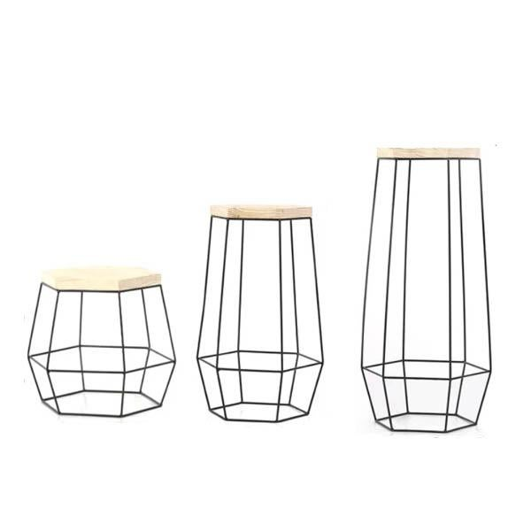 Nordic Classic Wooden Iron Indoor Plant Stand Home Decor