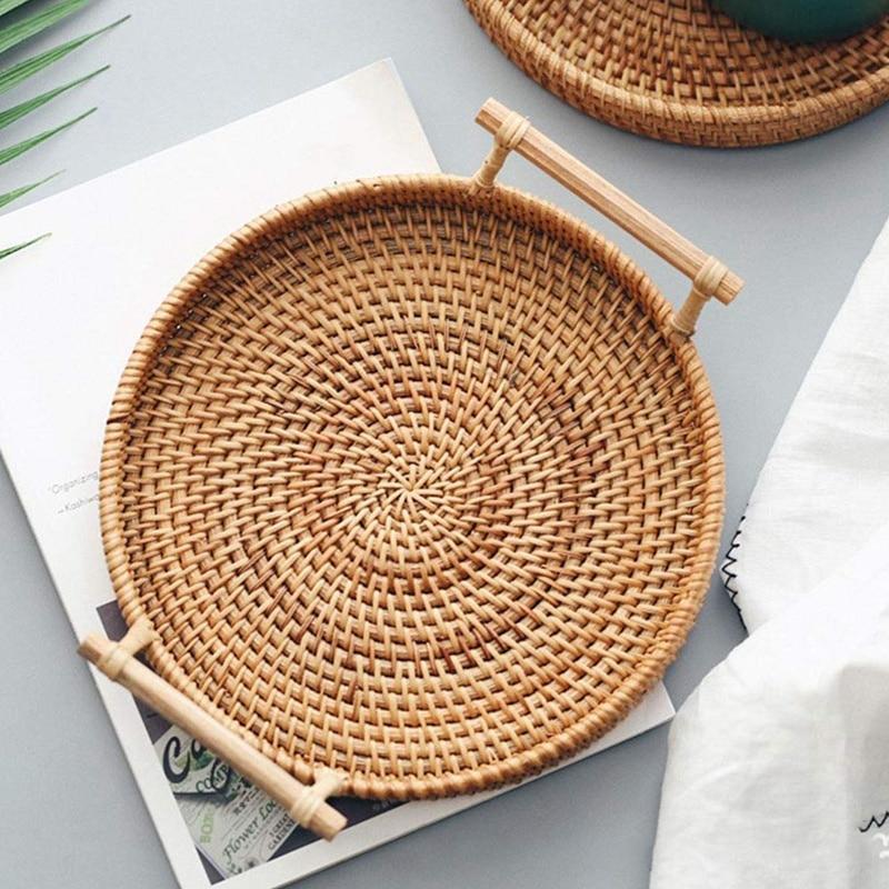 Rattan Round Basket Serving Tray Home Decor