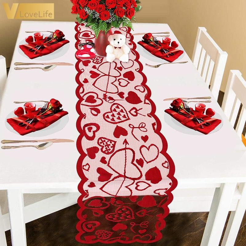 Red Love Heart Print Table Runner Romantic Lace Table Cloth 33x183cm/13x72inch