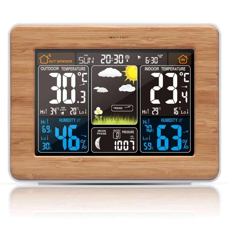 Weather Station Wireless Sensor Lcd Display Alarm Clock Barometer