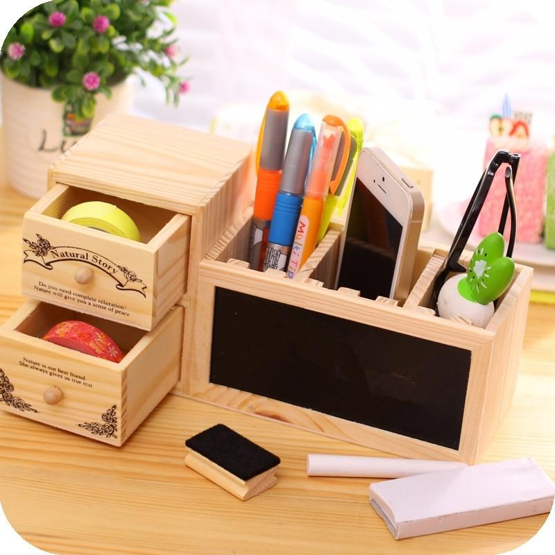 Wooden Pen Holder with Blackboard Cute Kawaii Desk Tidy Organizer O01