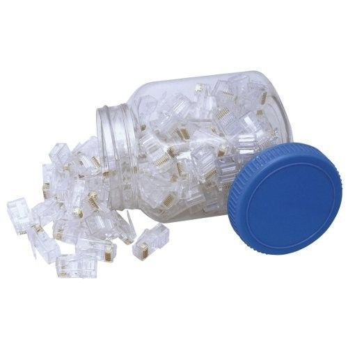 CABAC RJ45 8P8C PLUG FLAT STRANDED 100PK JAR Modular RJ plug for data applications