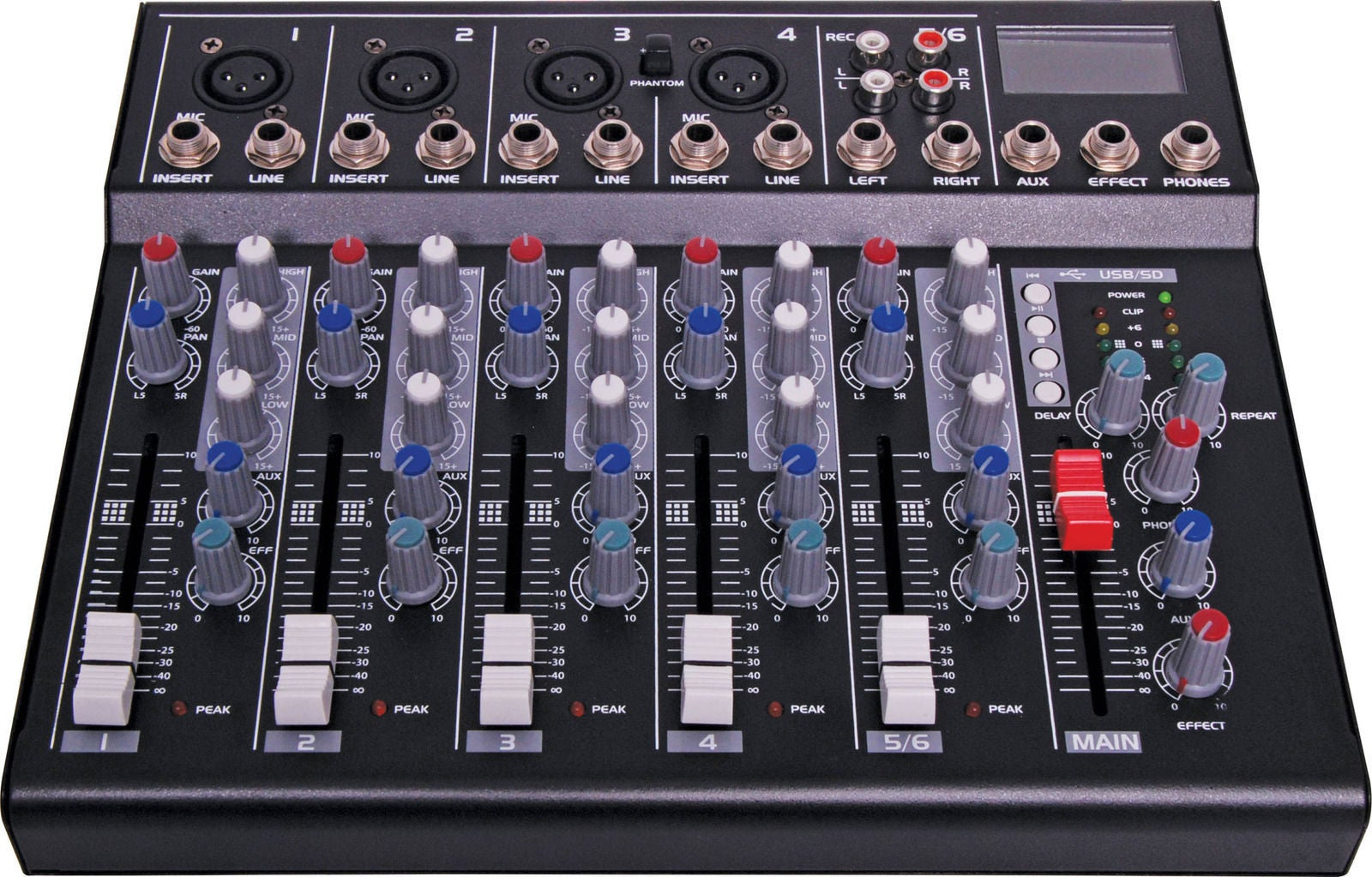 Redback Professional Audio 6 Channel Mixing Desk With USB Playback