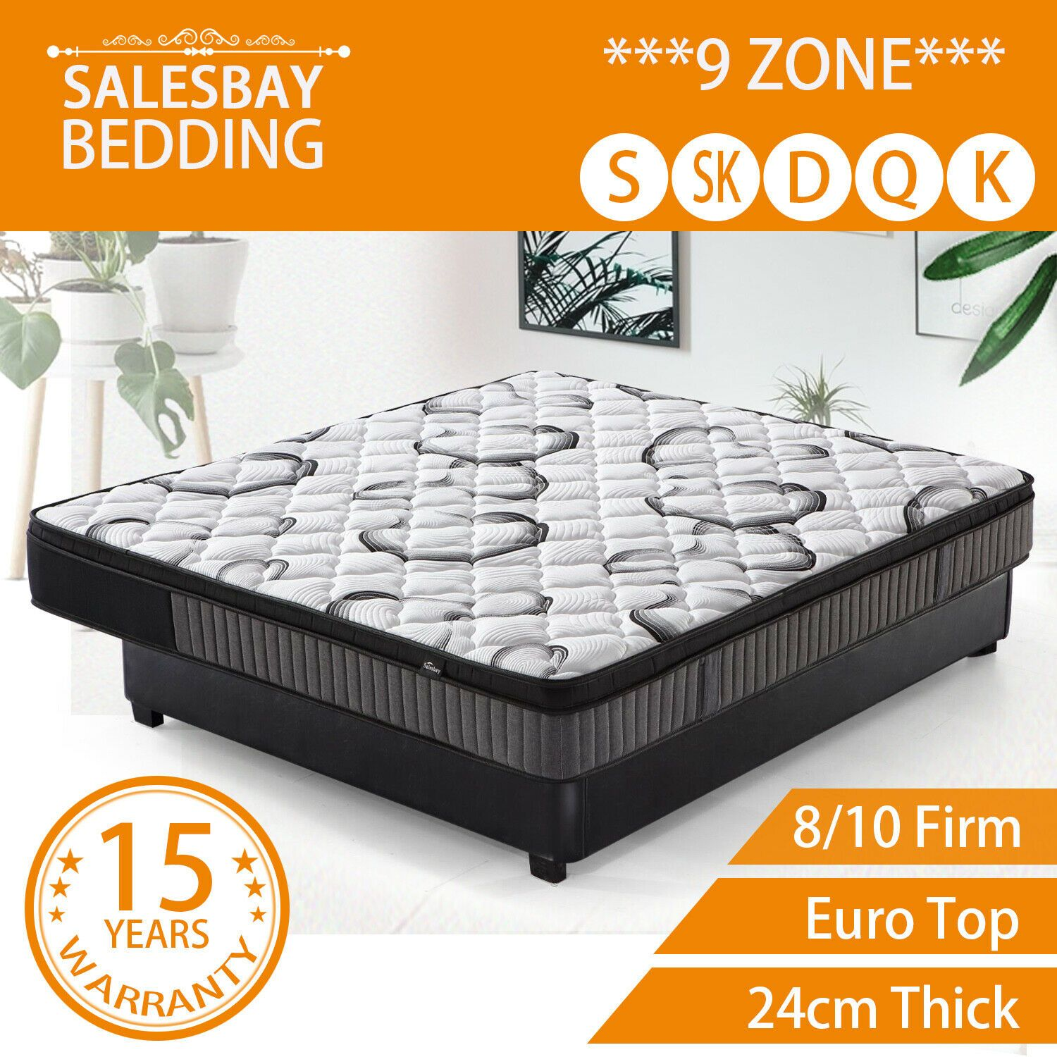 Mattress Super Firm 9 Zone Euro Top 24CM Pocket Spring Memory Foam Back Support Single King Single Double Queen King Size