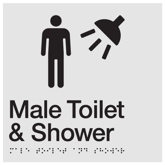 AS1428 Compliant Toilet Shower Sign Male Braille MTS SILVER 180x180x3mm