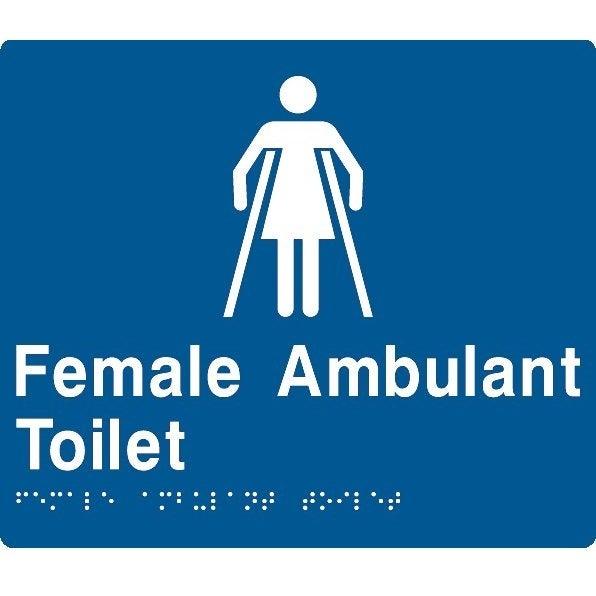 AS1428 Compliant Toilet Sign Female Ambulant Braille FAT BLUE 210x180x3mm